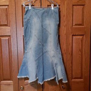 Free People denim flared skirt